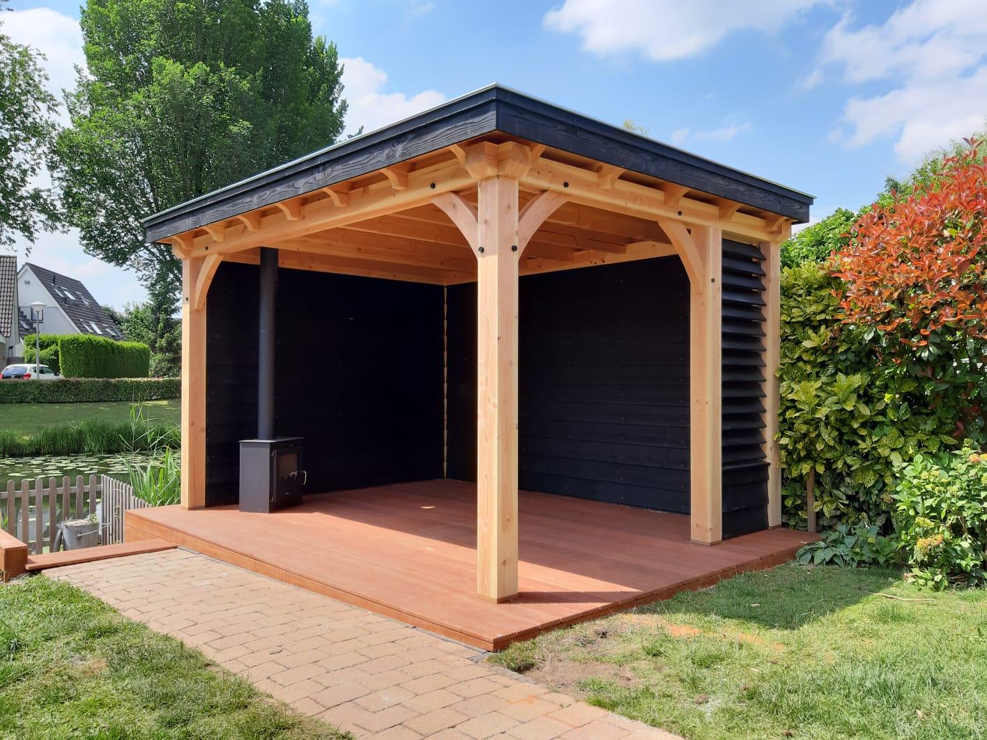 Douglas houten veranda met shutter