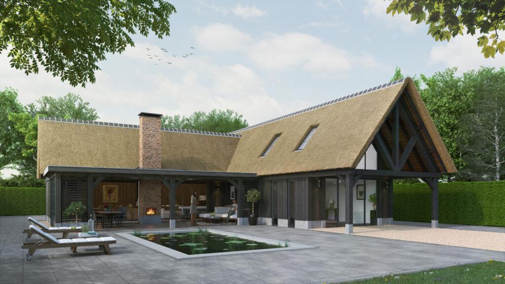 Luxe bijgebouw met tuinkamer kantoor gastenverblijf en veranda