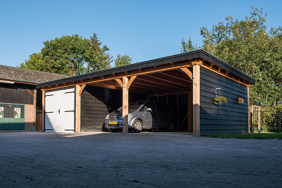 Douglas houten carport, garage met overkapping